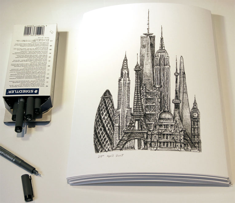 10th Anniversary Special Limited Edition of 50 - original drawings and prints by Stephen Wiltshire