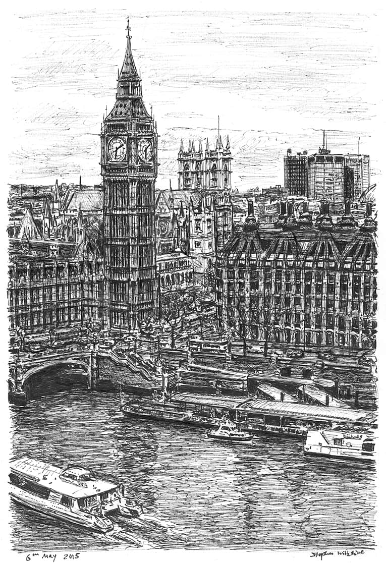 Big Ben and the River Thames (A4 print) with White mount (A4)