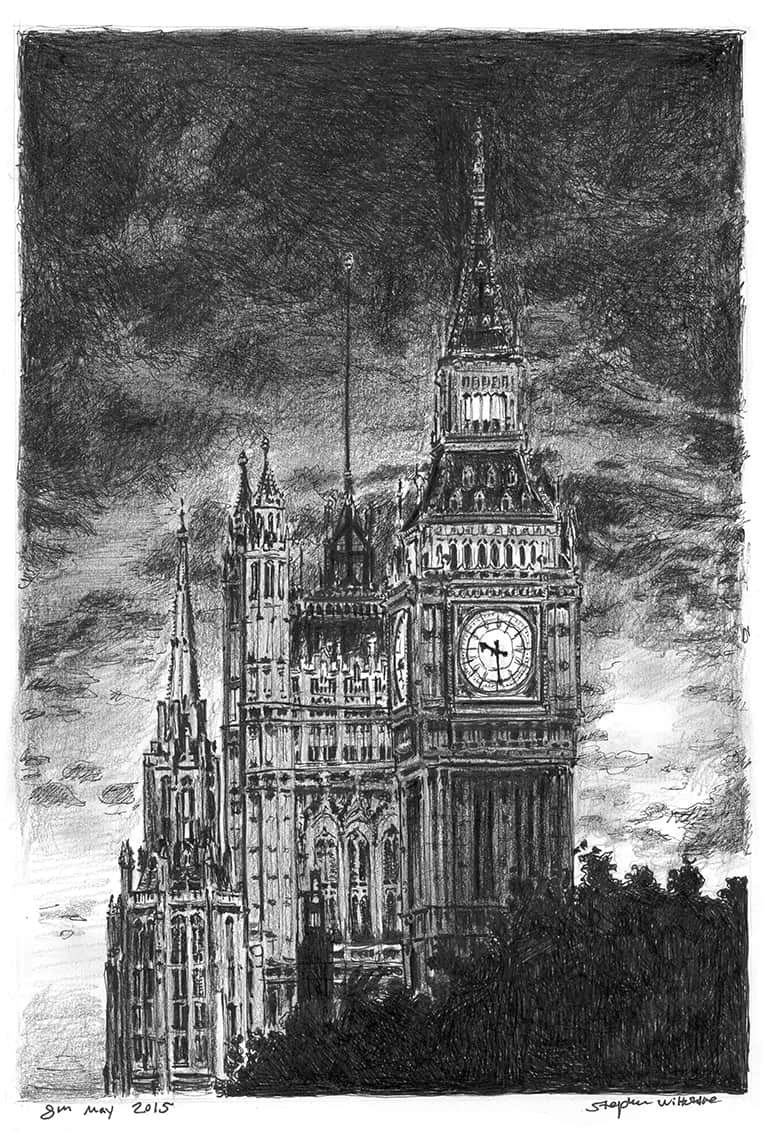 Big Ben at night - originals and prints by Stephen Wiltshire MBE
