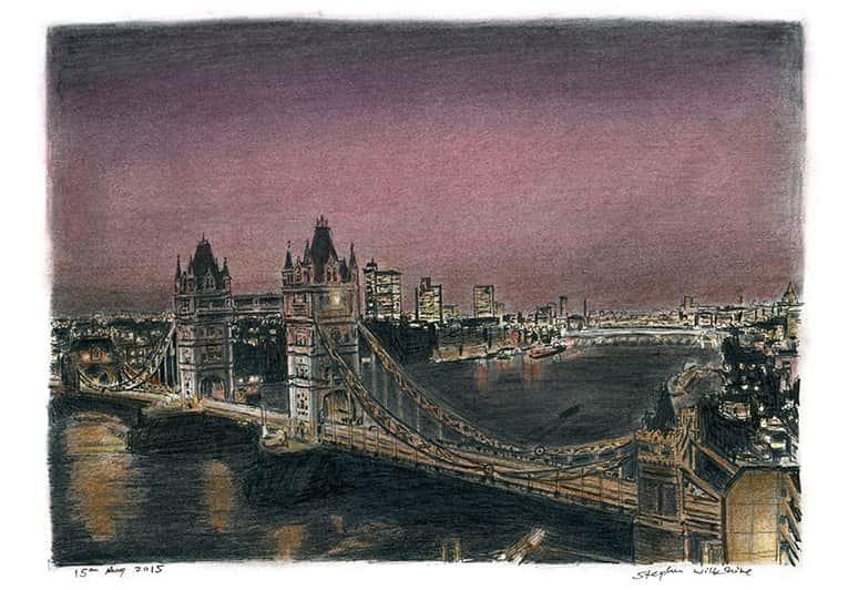 Tower Bridge at night with White mount (A4) in Flat grain black frame for A4 mounts (J90)