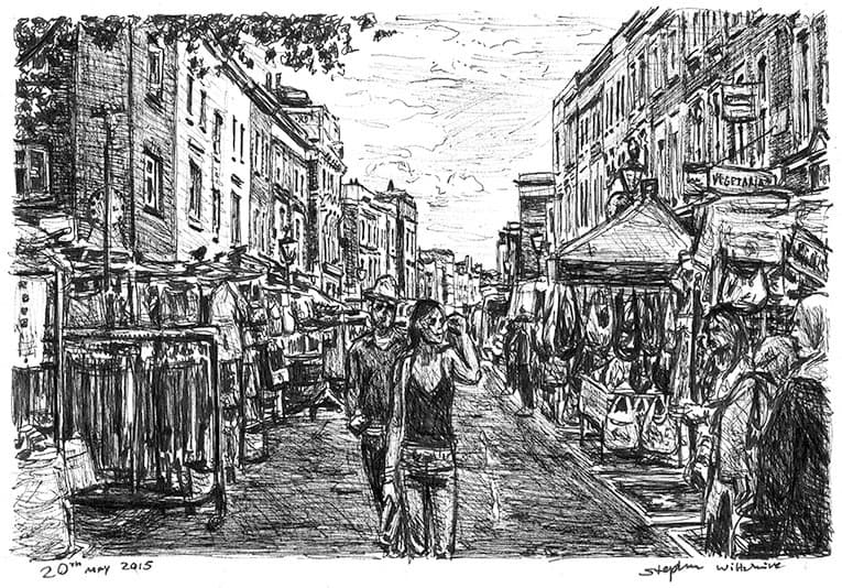 Portobello Market (London) - original drawings and prints by Stephen Wiltshire