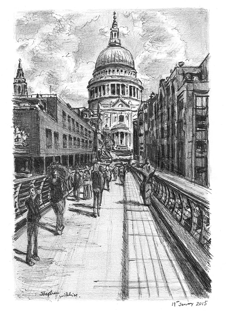 St Pauls from the Millennium Bridge - original drawings and prints by Stephen Wiltshire