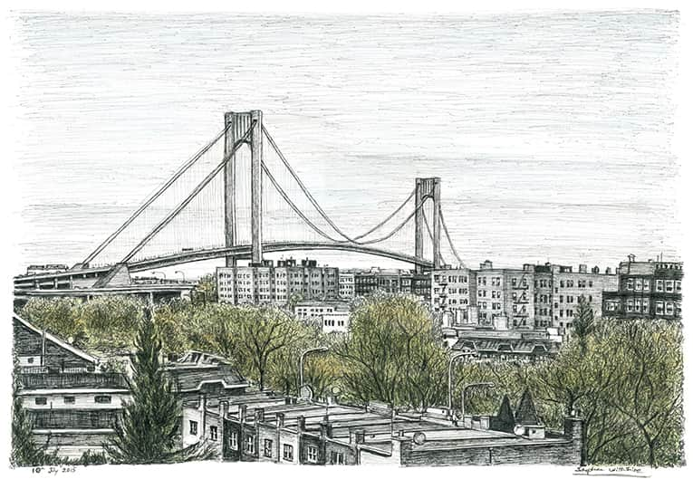 Verrazano Narrows Bridge - original drawings and prints by Stephen Wiltshire