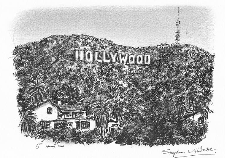 Hollywood Sign - original drawings and prints by Stephen Wiltshire