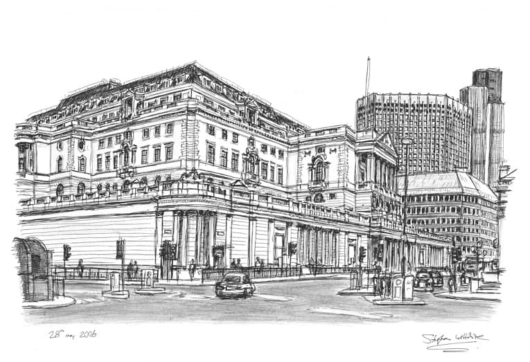 Bank of England - originals and prints by Stephen Wiltshire MBE
