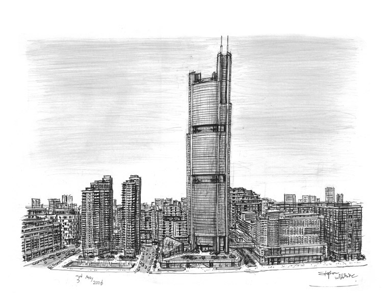 Shardsworld Tower (imaginary drawing) - originals and prints by Stephen Wiltshire MBE