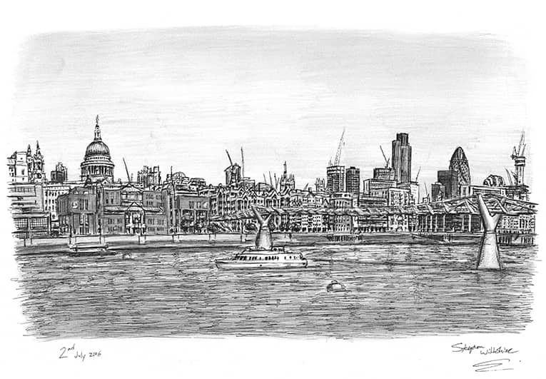View of St Pauls Cathedral and Millennium Bridge - original drawings and prints by Stephen Wiltshire