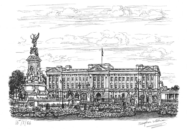 Buckingham Palace (A4 print) with White mount (A4) in Flat grain black frame for A4 mounts (J90)