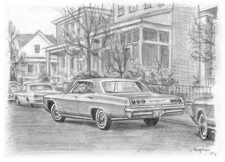 1965 Chevrolet Impala (A4 print) with White mount (A4) in Flat grain black frame for A4 mounts (J90)