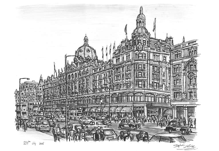 Harrods Knightsbridge - original drawings and prints by Stephen Wiltshire