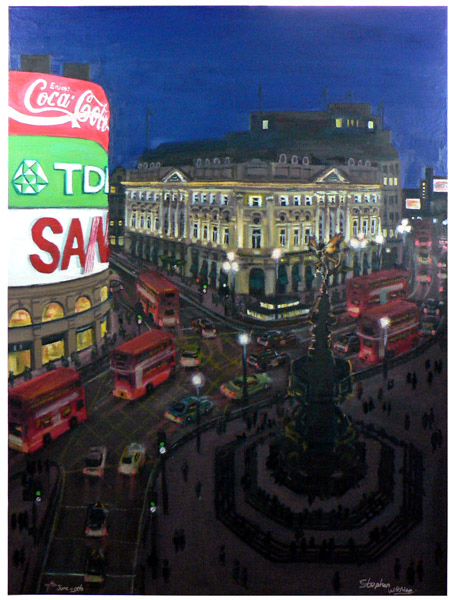 Piccadilly Circus at night - original drawings and prints by Stephen Wiltshire