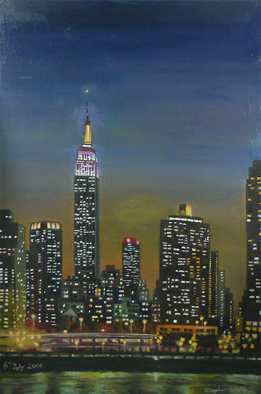 Empire State Building at night - originals and prints by Stephen Wiltshire MBE