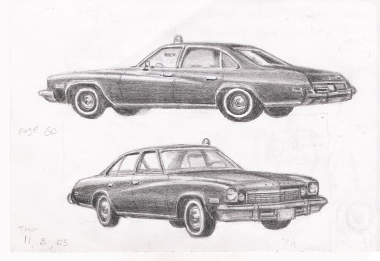 Kojaks 1973 Buick Century - Original Drawings and Prints for Sale