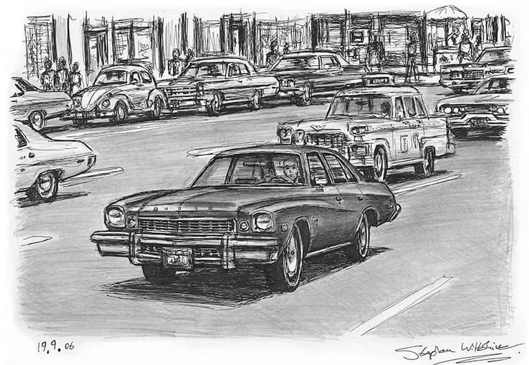TV series Kojak Buick Century - original drawings and prints by Stephen Wiltshire