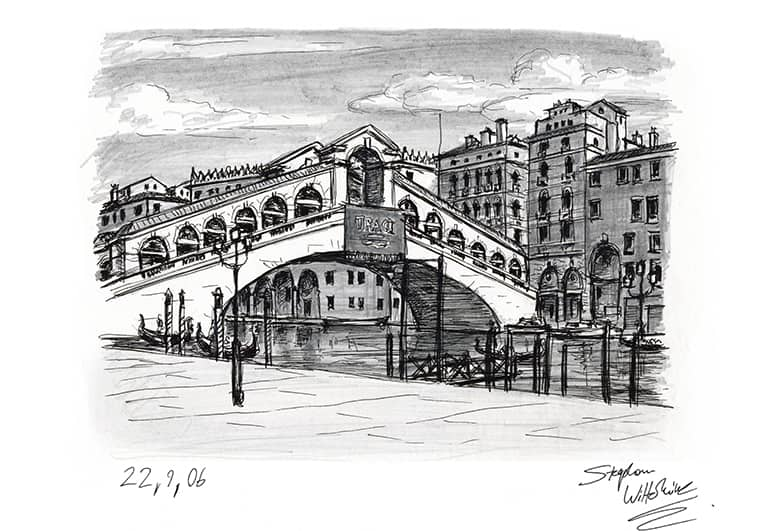 Line Drawing Venice : Rialto bridge venice original drawings prints and