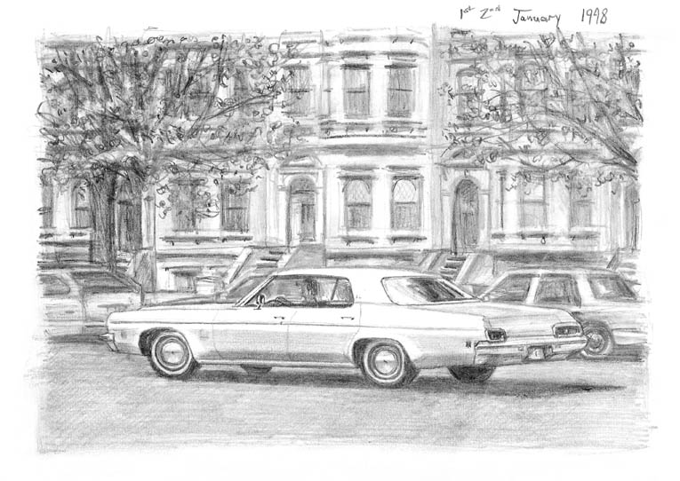 1973 Oldsmobile Delta 88 Sedan Hard Top - original drawings and prints by Stephen Wiltshire