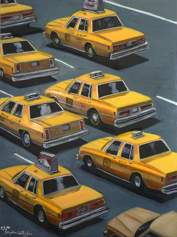 Taxis in traffic - original drawings and prints by Stephen Wiltshire