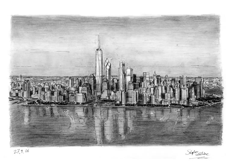 Aerial view of Freedom Tower (A4 print) with White mount (A4) in Flat grain black frame for A4 mounts (J90)