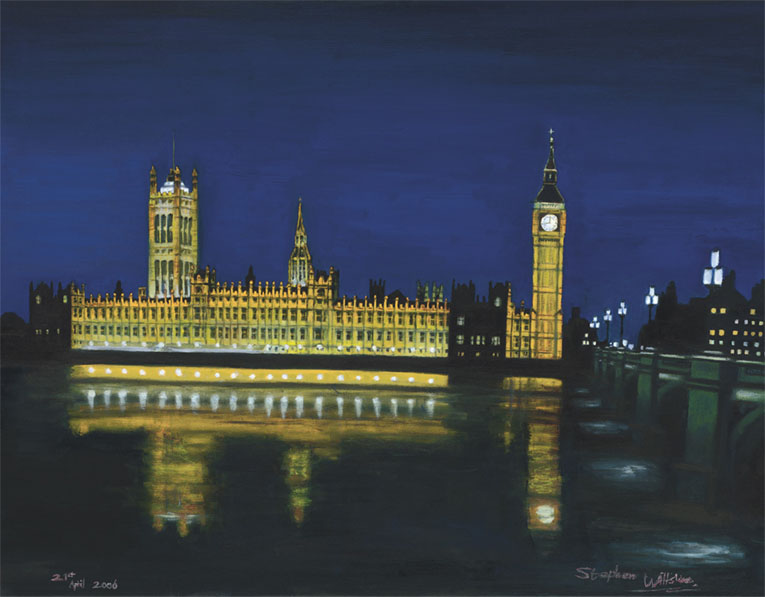 Houses of Parliament at night - originals and prints by Stephen Wiltshire MBE
