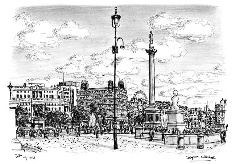 Trafalgar Square London - original drawings and prints by Stephen Wiltshire