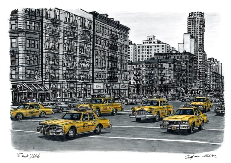 Street scene with New York taxis (A4 print) with White mount (A4)