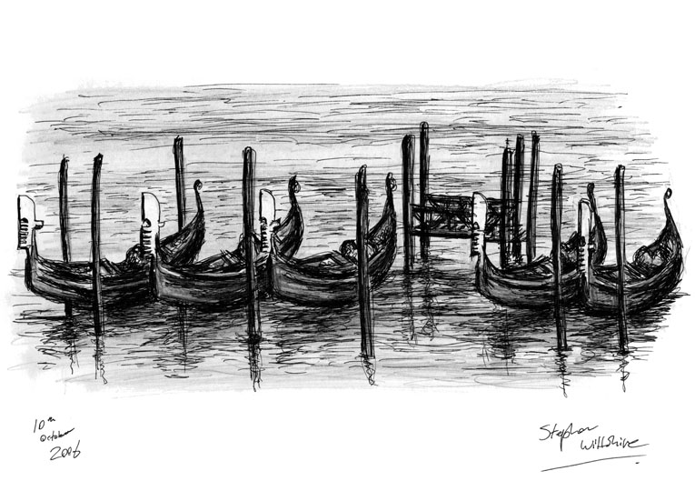 Gondolas on water in Venice - original drawings and prints by Stephen Wiltshire
