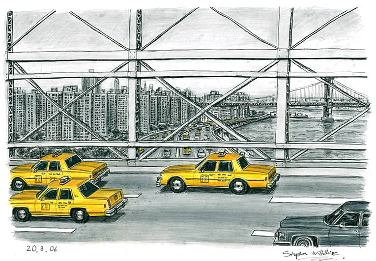 Some New York taxis from Brooklyn Bridge - originals and prints by Stephen Wiltshire MBE