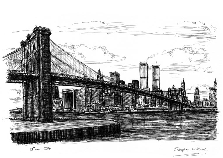 Memory Drawing Of Manhattan Skyline Original Drawings