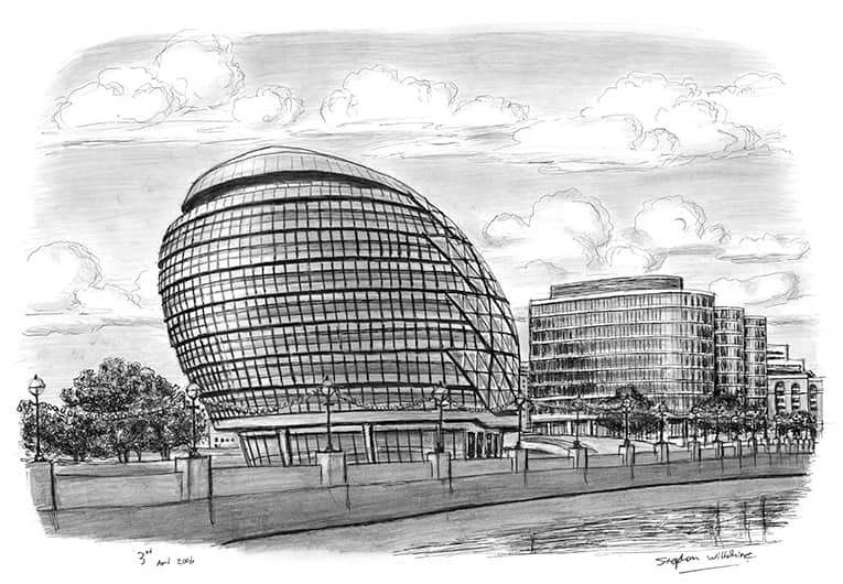 New Mayors Office City Hall - original drawings and prints by Stephen Wiltshire