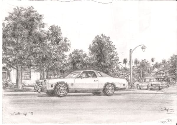 1974 Chevrolet Laguna - original drawings and prints by Stephen Wiltshire
