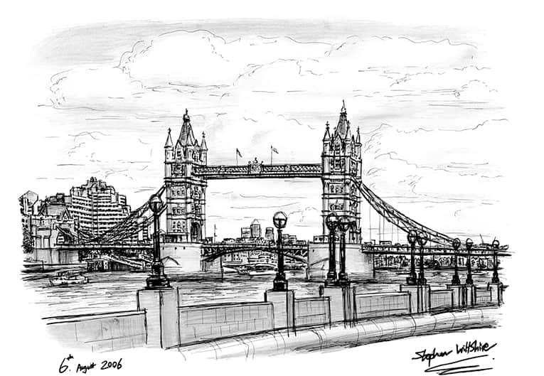 Tower Bridge 2006 (A4 print) with White mount (A4) in Flat grain black frame for A4 mounts (J90)