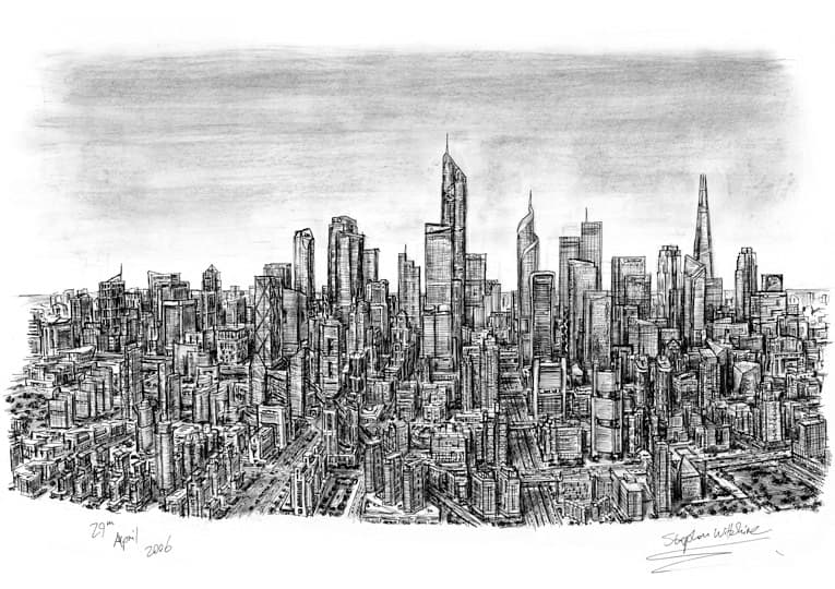 Imaginary Skyline (an ideal city) - originals and prints by Stephen Wiltshire MBE