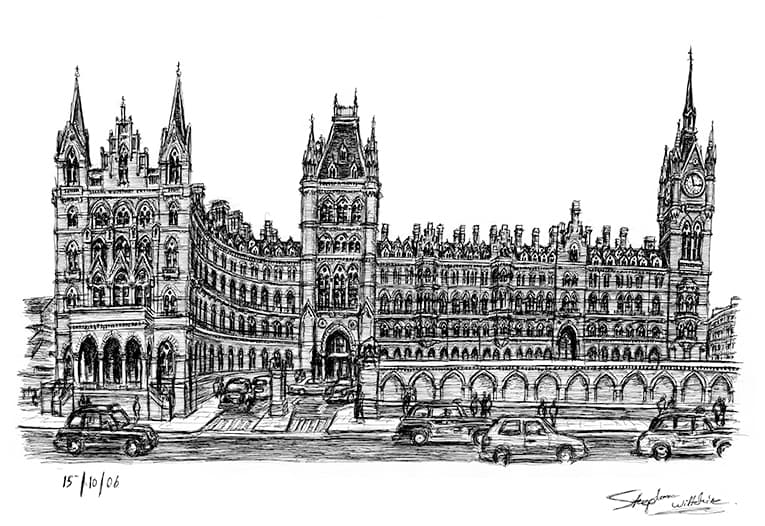 St Pancras Station 2006 (A4 print) with White mount (A4)