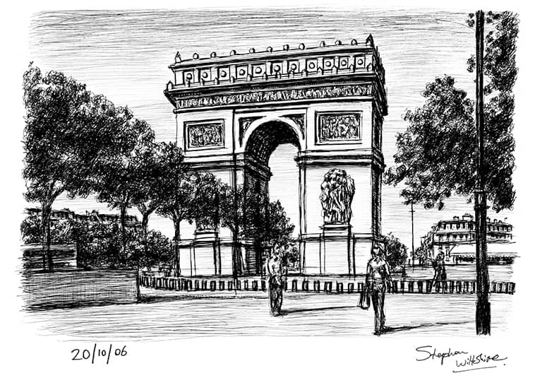 Arc de Triomphe Paris with White mount (A4) in Flat grain black frame for A4 mounts (J90)