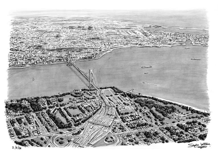 Aerial view of Verrazano Narrow Bridge US - originals and prints by Stephen Wiltshire MBE