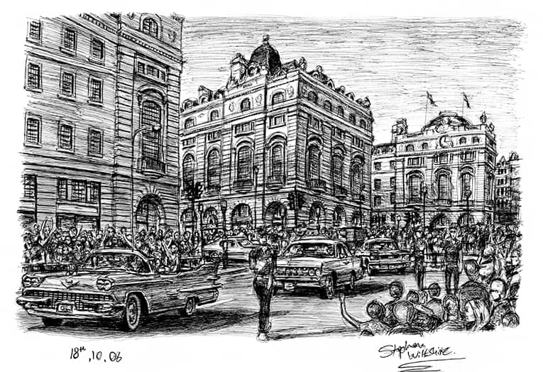 Regent street showing American cars driving down (A4 print) with White mount (A4) in Flat grain black frame for A4 mounts (J90)