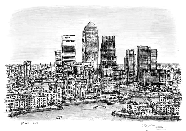 Canary Wharf - drawings and paintings by Stephen Wiltshire MBE