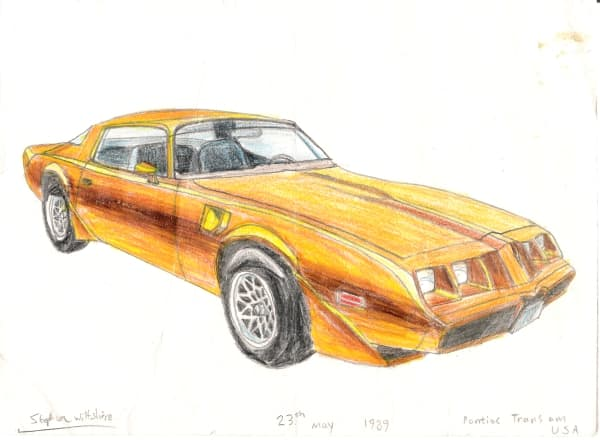 Pontiac Trans Am - original drawings and prints by Stephen Wiltshire