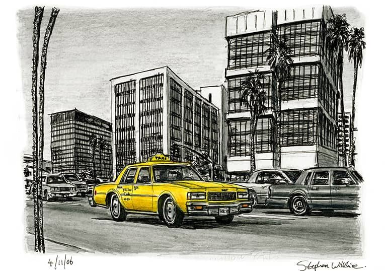 Yellow Taxi passing by Wilshire Boulevard (A4 print) with White mount (A4) in Flat grain black frame for A4 mounts (J90)
