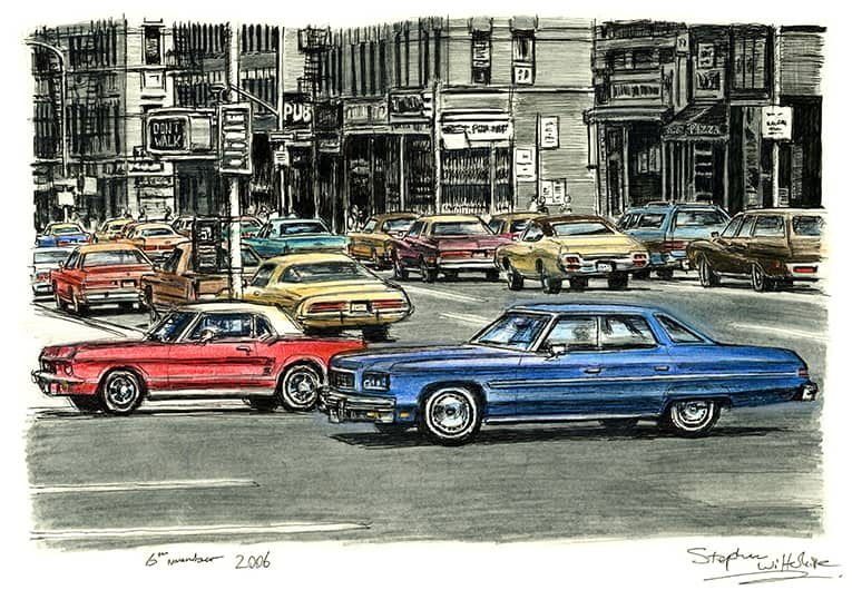 Lots of american cars on the streets of New York City - original drawings and prints by Stephen Wiltshire