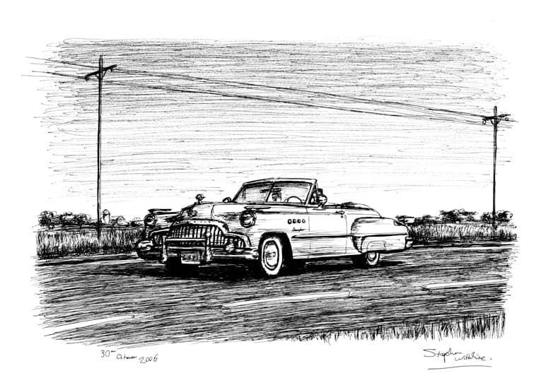 1949 Buick Roadmaster Convertible - original drawings and prints by Stephen Wiltshire