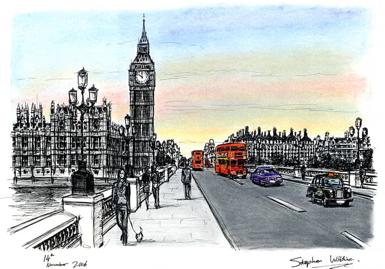 Big Ben and Houses of Parliament from Westminster Bridge - originals and prints by Stephen Wiltshire MBE