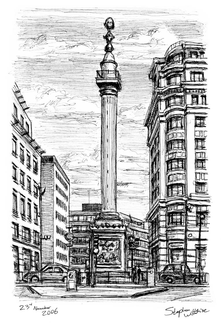 Monument in the City of London - original drawings and prints by Stephen Wiltshire