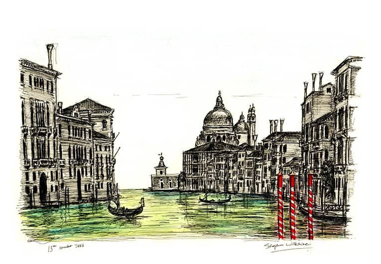 Birds eye view of Salute in Venice - original drawings and prints by Stephen Wiltshire