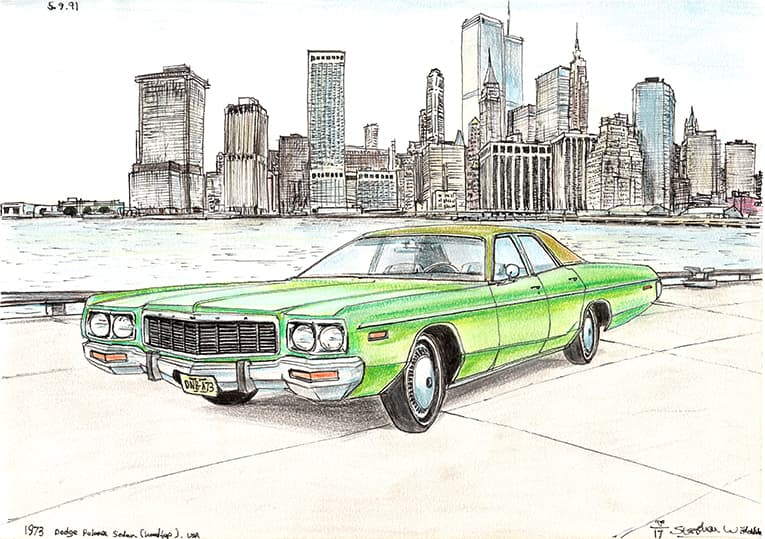 1973 Dodge Polara Sedan - drawings and paintings by Stephen Wiltshire MBE