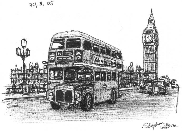 London Transport Bus Routemaster - Original Drawings and Prints for Sale