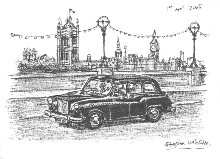 London Taxi - original drawings and prints by Stephen Wiltshire