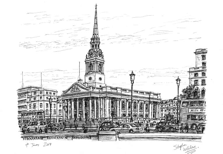 St Martin in the fields - drawings and paintings by Stephen Wiltshire MBE