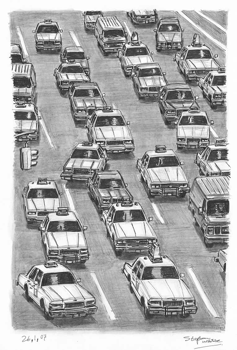 New York Taxis - originals and prints by Stephen Wiltshire MBE