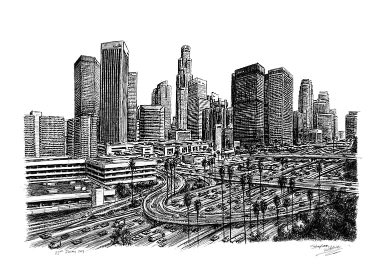 Los Angeles Skyline 2007 (A4 print) with White mount (A4)